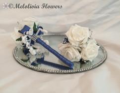 blue & white flower girl wands - foam flowers