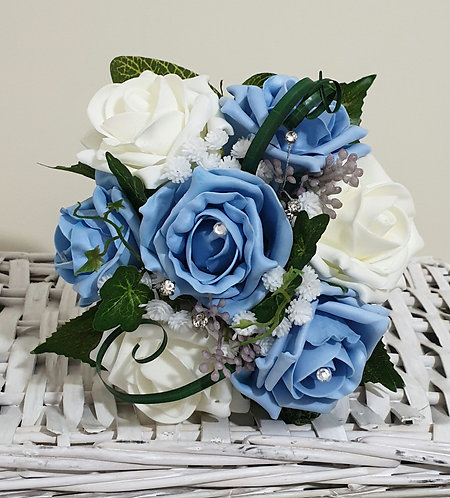 """Artificial posy bouquet with roses, greenery and embellishments (6"""" wide)"""