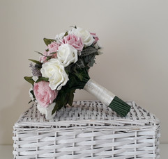 pink & ivory bouquet - foam flowers
