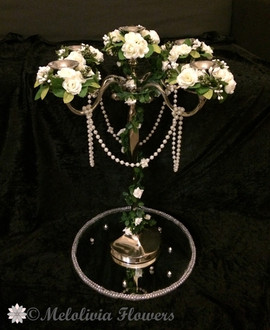 ivory candle rings - foam and silk flowers