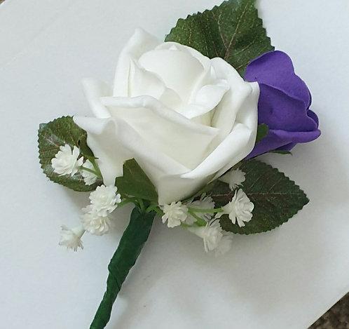 Artificial double rose buttonhole
