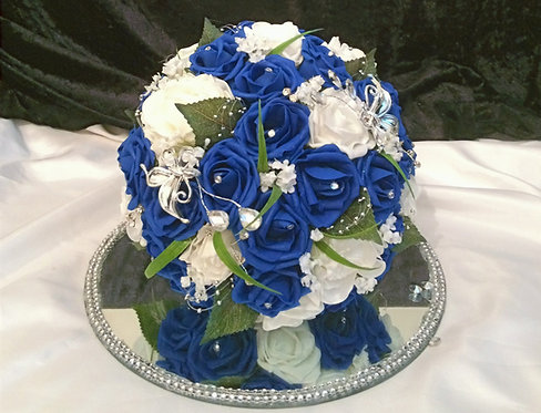 """Artificial bridal bouquet with mixed foam flowers and butterflies (10"""" wide)"""