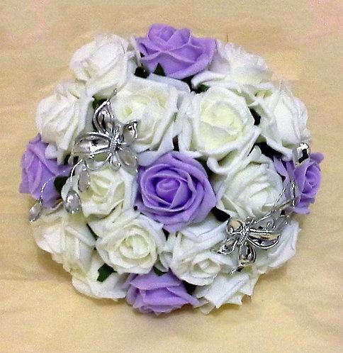 "Artificial bouquet with butterflies (8"" wide)"