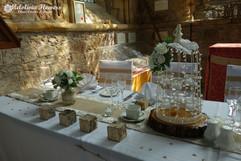 ivory table arrangements - foam flowers