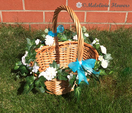 ivory garland basket with turquoise ribbon - foam flowers
