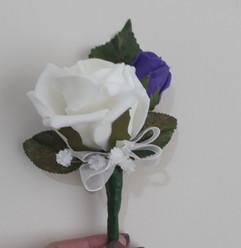 white & purple buttonhole/corsage - foam flowers