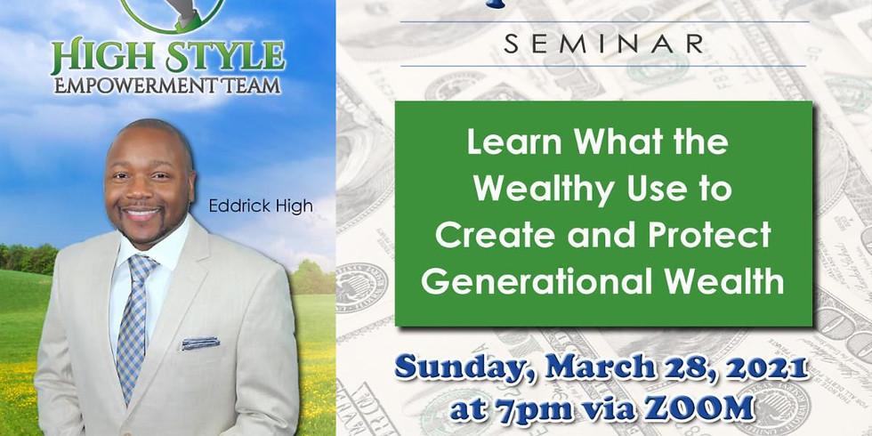 Financial Empowerment Seminar - Sunday, March 28, 2021 @ 7:00pm EST