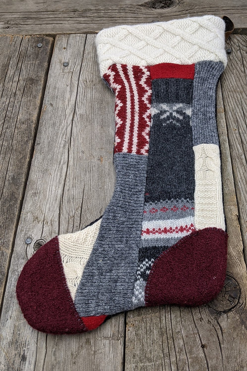 Canadiana Patchwork stocking-burgundy toe
