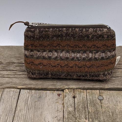Small Zip Case - Earthy Fairisle and Tweed