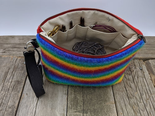 Knitter's Project Bag -Rainbow Red