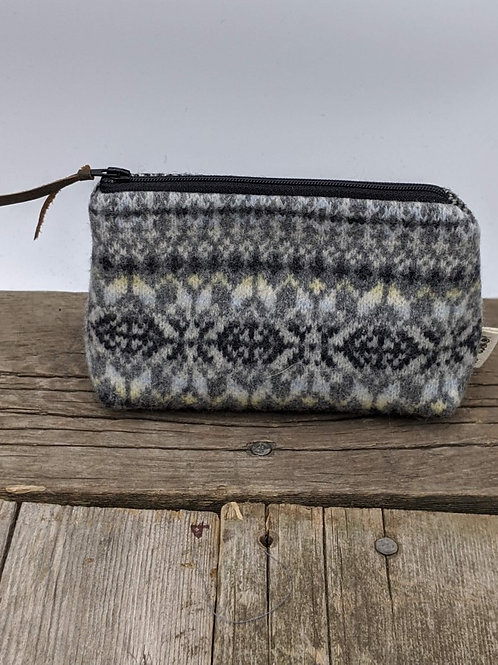 Small Zip Case - Grey Fairisle and Herringbone