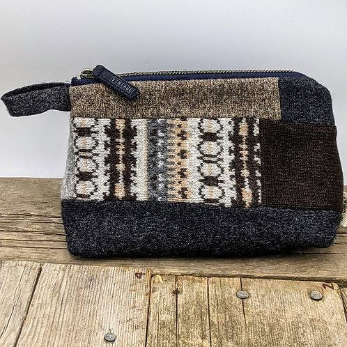 Medium Zip Case -grey/brown patchwork and tweed