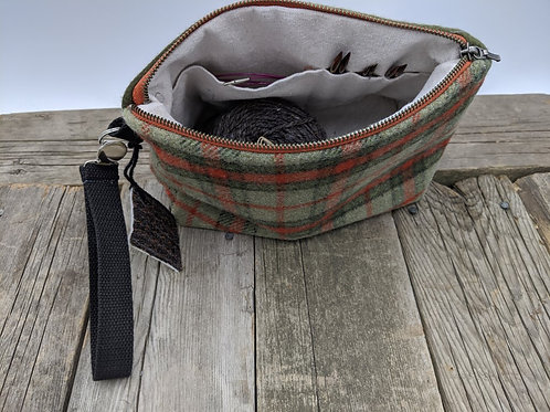 Knitter's Project Bag - Green Rust Plaid