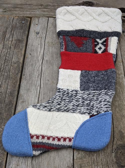 Canadiana Patchwork Stocking - blue toe