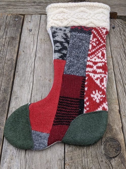 Canadiana Patchwork Stocking- green toe