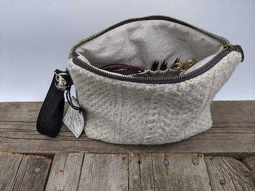 Knitter's Project Bag - Cables and Grey