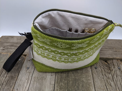 Knitter's Project Bag - Fairisle Green & Cream