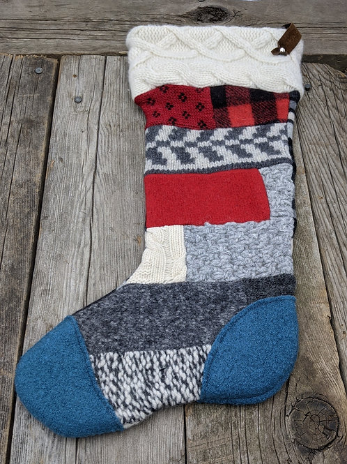 Canadiana Patchwork stocking-teal toe