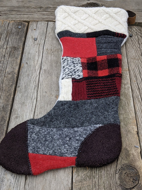 Canadiana Patchwork stocking-brown toe