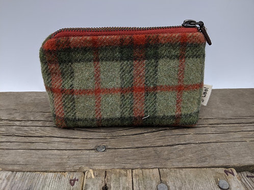 Small Zip Case - Green Rust Plaid
