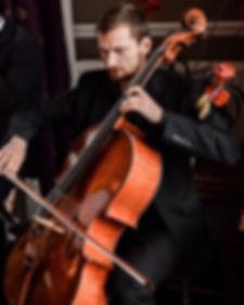 Tim Cais cello Performing at a wedding in Edinburgh