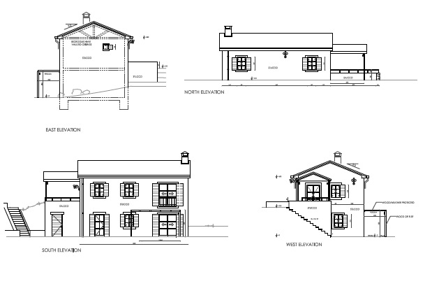 Villa J elevations and sections