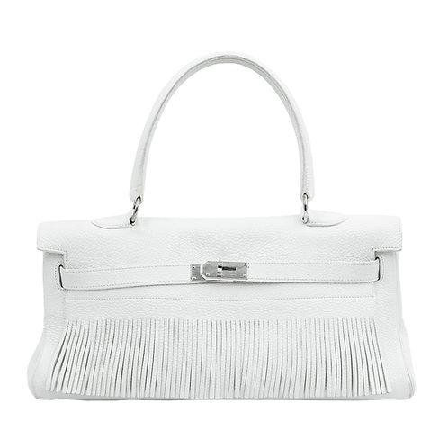 Hermès JPG White Fringe Shoulder Kelly