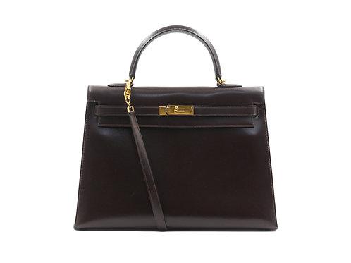 Hermès Kelly 35 Brown Box Leather