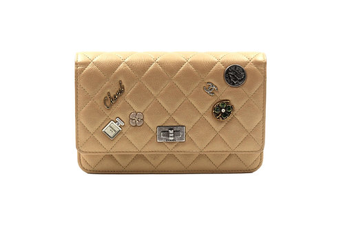 Chanel Aged Calfskin Lucky Charms Casino 2.55 Reissue Wallet on Chain WOC Gold