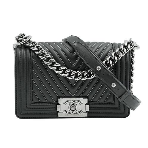 Chanel Chevron Boy Bag Black Lambskin