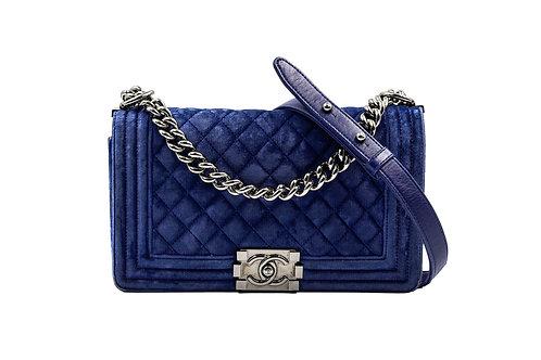 Chanel Velvet Blue Boy Bag