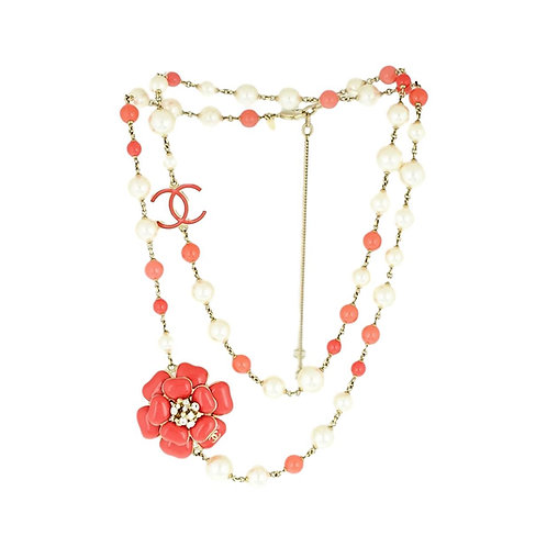 Chanel Coral Resin Camelia Necklace