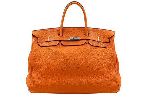 Hermes Orange Birkin 40 Clemence Leather