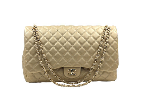 Chanel Metallic Gold Calfskin XXL Travel Flap Bag