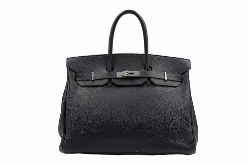 Hermes Birkin Handbag Bleu Indigo Fjord with Palladium Hardware 35
