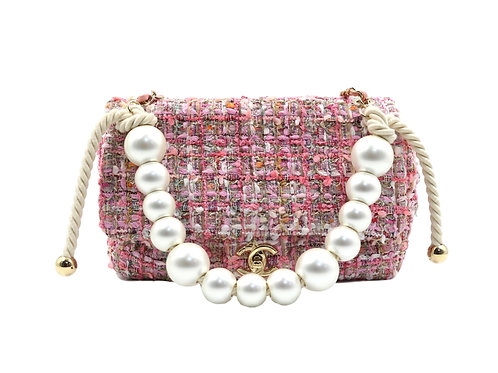 Chanel Tweed Pearl Handle Flap Pink
