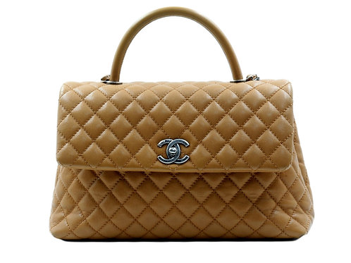 Chanel Top Handle Tote Beige Caviar