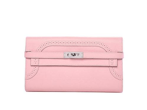 Hermès Ghillies Kelly Longue Wallet Swift Rose Sakura