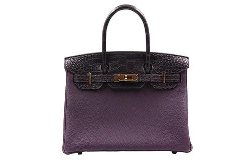 """Hermès Raisin """"Touch"""" Birkin 30cm Matte AlligatorTogo Leather RGH"""