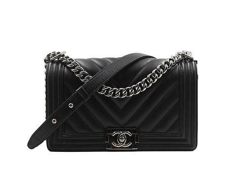 Chanel Chevron Boy Bag Black PHW