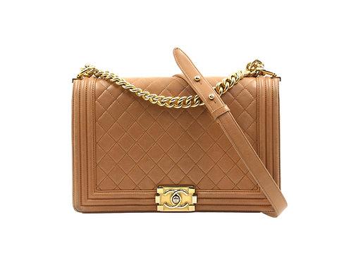 Chanel New Medium Boy Bag Beige Lambskin