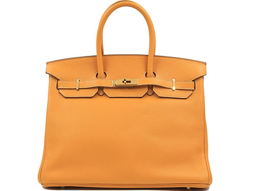 Hermès Birkin 35 Moutarde Clemence Leather