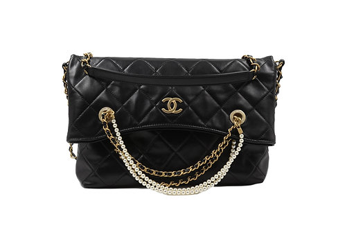 Chanel Calfskin Shopping Tote Crystal Pearls & Gold-Tone Metal