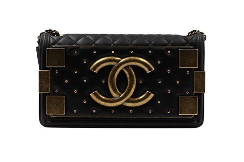 Lambskin Quilted Boy Brick Studded Flap Black