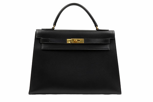 Hermès Black Kelly 32 Vintage Box Leather