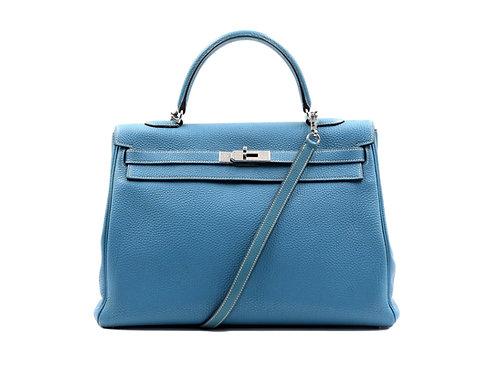 Hermès Kelly 35 Togo Leather Blue Jean PHW
