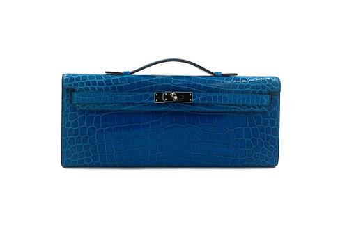 Hermès Kelly Cut Bleu Izmir Porosus Crocodile Skin
