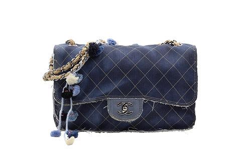Chanel Denim Pom Pom Limited Edition Flap Bag