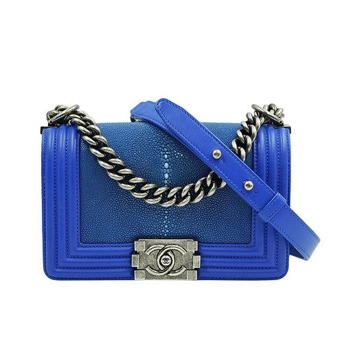 Chanel Boy Bag Stingray Electric Blue