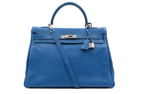 Hermès Taurillon Clemence Kelly Retourne 35 Cobalt